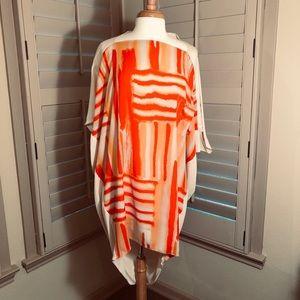 Soft flowing multi-color dolman sleeve dress